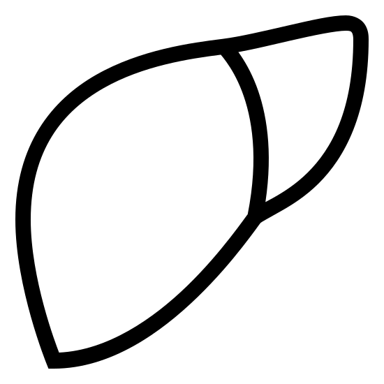 Liver icon. There are two shapes that are connected by a shared curved line. The shape on the left is an oval with pointed narrow ends. The second shape is triangular and is smaller and is connected at the upper right edge of the oval.