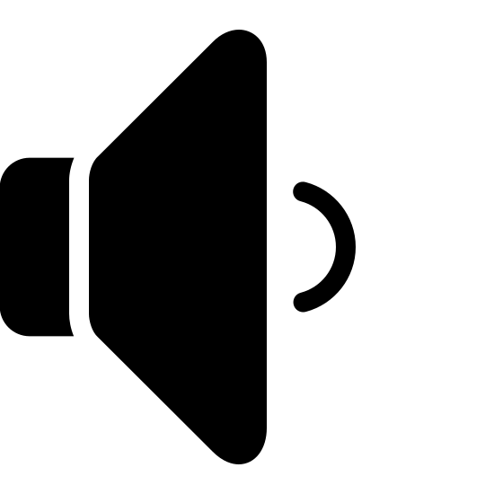 Low Volume Filled icon. The icon looks like a triangle with curved edges laying vertical but the point facing left is missing. It is replaced with a smaller rectangle shape with curved edges. At the base of the vertical triangle which is facing left is a small backwards C shape at the center.