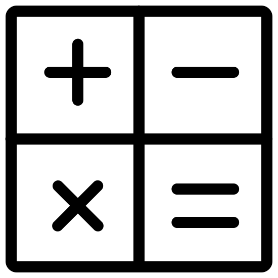 """Matematyka icon. This """"math"""" icon consists of a perfect square divided in quarters perfectly, vertically and horizontally. In the upper left quarter is the perfect cross of the """"addition sign."""" In the upper right quarter is the horizontal line of the """"subtraction sign."""" In the lower left quarter is the two diagonal lines of the """"multiplication sign."""" In the lower right quarter are the two vertical lines of the """"equal sign."""""""