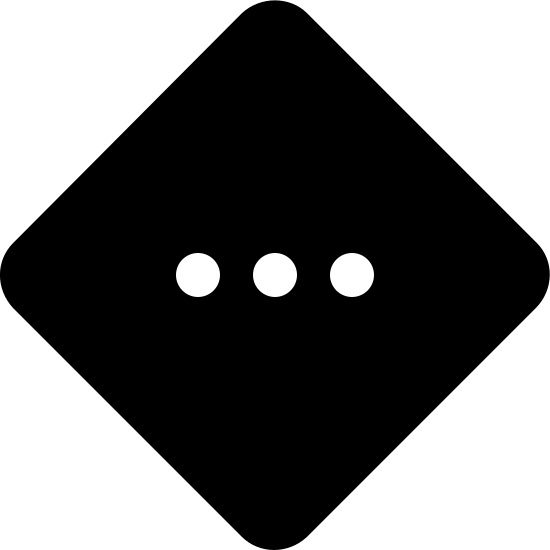 Medium Priority Filled icon. The icon of Medium Priority looks a square turned sideways with the corners, resembling a baseball field. And within the square figure, there are three small dots in a straight line side by side in the middle.