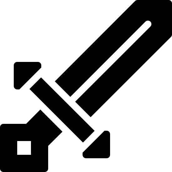 Epée Minecraft icon. It's an icon of a short, double-edged sword, pointed diagonally up to the right. The bottom of the hilt is partially in the shape of a diamond.