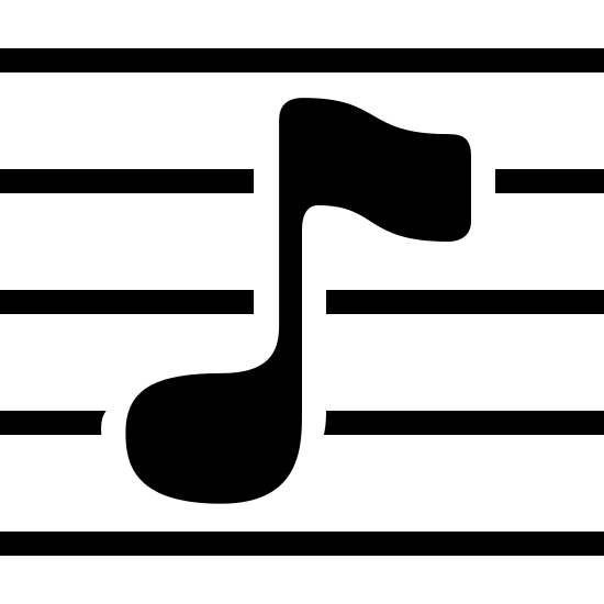 Music Notation Filled icon. At the center of the icon is a musical note that is shaped like an oval at the bottom and is facing left. It is connected to a vertical line that meets a flagged shaped piece that is facing right. There are 3 lines running through the shape and two lines, one at the top and the other below that aren't running through it.