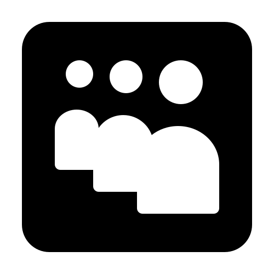Myspace App Filled icon. Its the logo of Myspace consisting of 3 bodies with heads, no arms, and no faces. The logo is surrounded by a square, with nothing else in it except for the bodies and heads.