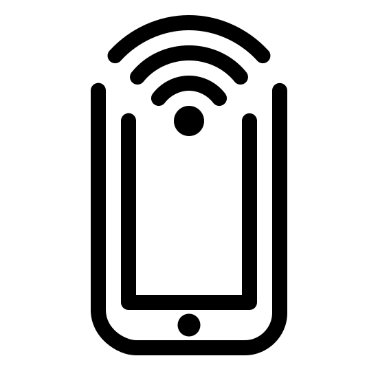 NFC icon. This logo displays the image of a typical smartphone, in a vertical position. At the top of the phone is a typical wifi signal logo - the set of three lines curving downward over a small circle.