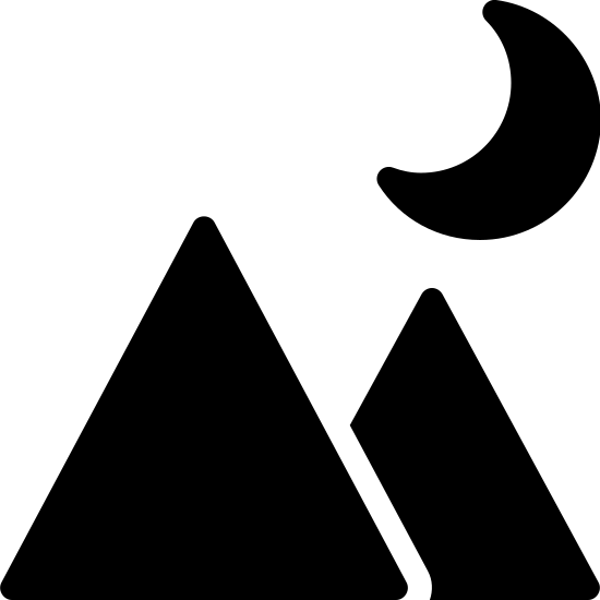 Night Landscape Filled icon. This icon contains two triangles representing mountains. The left triangle is slightly larger and overlaps the one on the right. Above the right triangle there is a crescent moon shape, with the crescent being on the right side.