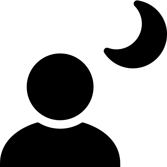 Night Portrait Filled icon. It is a simple representation of a night landscape. the top right has a crescent shaped moon and next to that is a circle. Beneath the circle is something that resembles a hill. it has a straight line for a base and a shape that looks slightly like the letter M attached to it