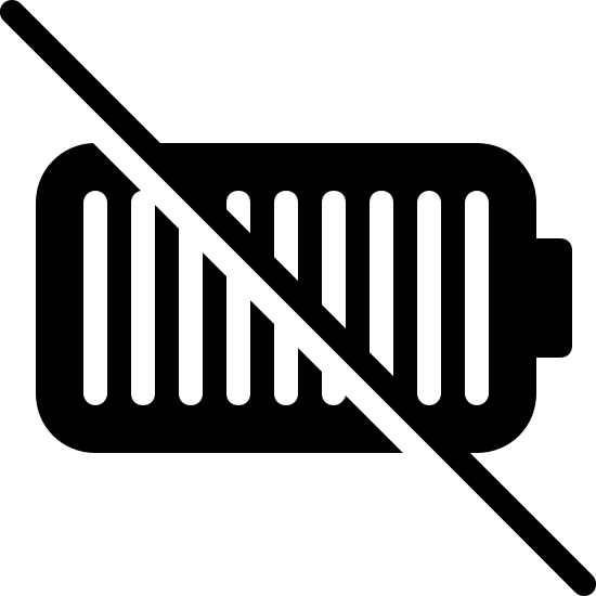 No Battery Filled icon. It is a logo for a dying battery. It is a battery shape but with a line through it stating that it is either low   or that it is dying. It has lines going vertical to display how many bars are left that are still charged.