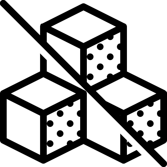 Bez cukru 2 icon. The icon is a depiction of 3 cubes with one stacked on top of two of them. The cubes have a Diagonal line running through them from upper left to lower right.