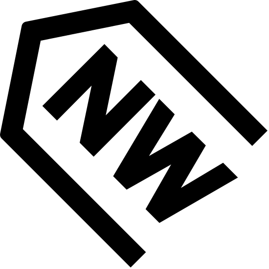 North West Filled icon. It's a sign to point to the direction known as North West. The outer arrow shape is pointing diagonally to the upper left, similar to the position of 10 on a clock. There are the letters NW inside the arrow shape.
