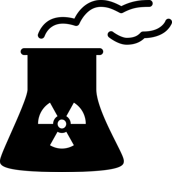 Nuclear Power Plant Filled icon. It is a basic picture showing a nuclear power plant cooling tower. it's shaped somewhat like a cylinder, but it's thinner at the top. short, wriggly lines are placed above the tower representing plumes of smoke. the standard radioactive hazard symbol is on the tower.