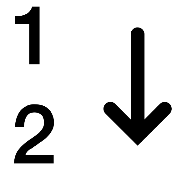 Numerische Sortierung icon. The icon shows two horizontal numbers. The number at the top is a 1 and the number at the bottom is a 2. At the right of the numbers is an arrow that is pointing downwards.