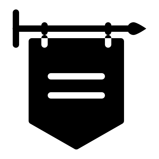 Stary sklep icon. The icon is a simplified depiction of a placard used to describe a shop in medieval times. The placard, itself a pentagon pointing downward, has two lines inscribed on it, and is connected to a metal pole that juts out from a fixture, from the right.