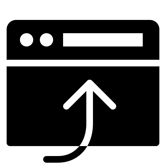 Open in Browser Filled icon. This is a picture of a browser window. It's blank for the most part, and on top has a bar with two black circles and a rectangular bar on the right side of that. There is a large curved arrow pointing into the box, pointing upwards.