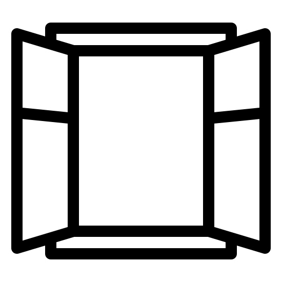 Open Window icon. This icon represents an open window. It is a large square with four smaller sqaures on each side. The sqaures on the side are one big on the bottom and one smaller one on the bottom to represent shutters.