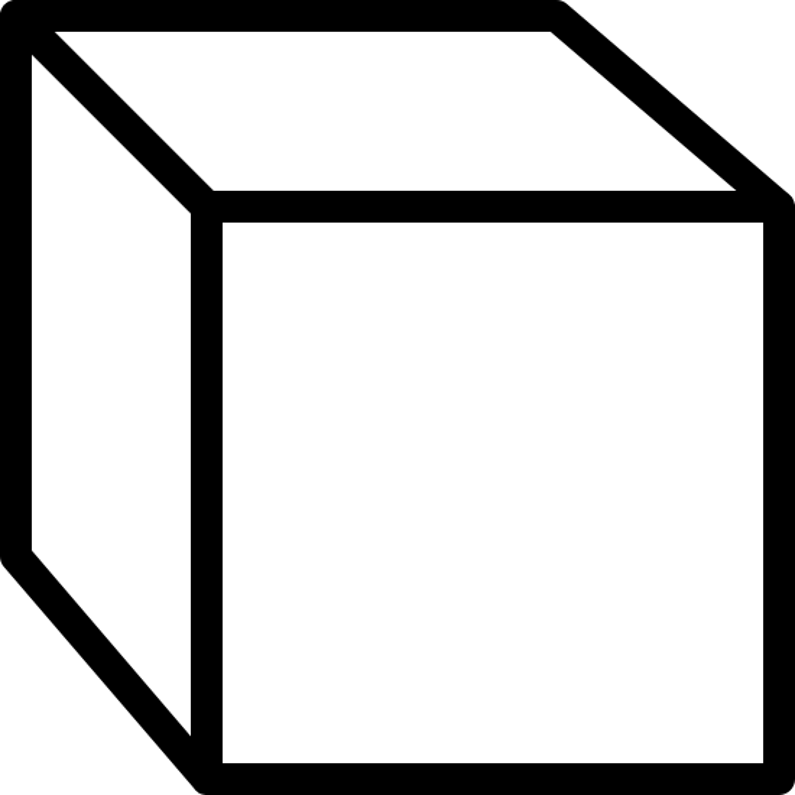 直交ビュー icon. The icon resemble a square that is three dimensional and forms a cube shape. The lines that turn the square into the cube shape are drawn going left of the square.
