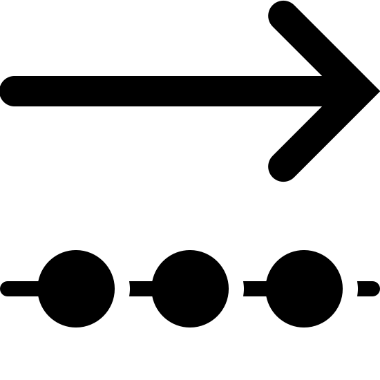Outgoing Data Filled icon. This is a photo of an arrow pointing to the right on the top, and below that, a line with three circles going through it. Each shape is the same length.