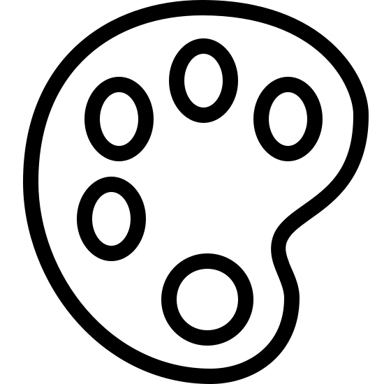 ペイントパレット icon. The icon is shaped like an oval that slightly resembles the letter C. Inside of it there are five circle shapes that almost go completely around it if it wasn't for the missing circle towards the middle right.
