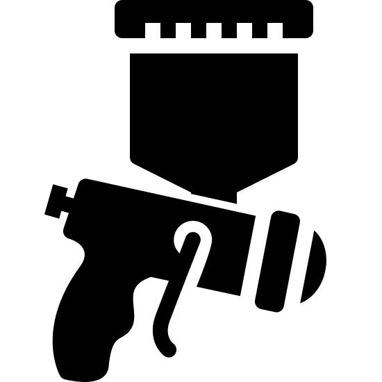 Paint Sprayer Filled icon. The icon is a simplified depiction of a device used to spray paint using gas accelerant  The tool has a pistol grip, with the body of the device ending in a rectangle separating the nozzle from the body. A tank extends upward to hold the paint being sprayed.