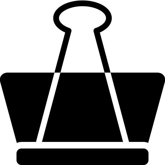 Zacisk do papieru icon. It is a combination of 3 shapes. On the bottom is a short but wide rectangle. Directly on top of that is an upside-down isosceles trapezoid. Layered on top of the trapezoid, but also directly on top of the base rectangle, is a triangle that instead of coming to a point at top has an oval-like bulb.