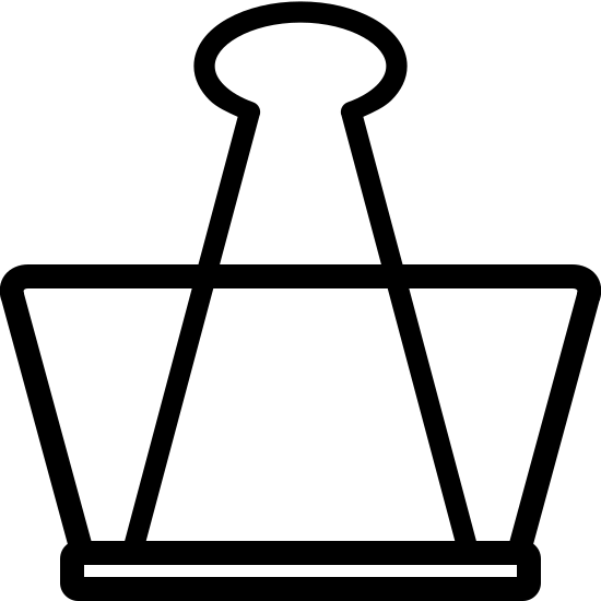 Paper Clamp icon. It is a combination of 3 shapes. On the bottom is a short but wide rectangle. Directly on top of that is an upside-down isosceles trapezoid. Layered on top of the trapezoid, but also directly on top of the base rectangle, is a triangle that instead of coming to a point at top has an oval-like bulb.
