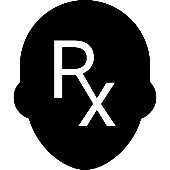 Pharmacist Filled icon. There is a silhouette of a person's head. Instead of a face, inside the head is the RX symbol for pharmacists.