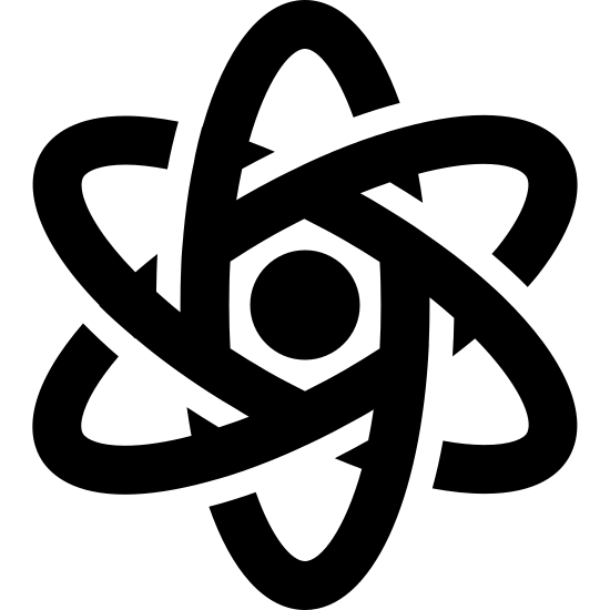 Physics Filled icon. It is an image of stylized atom. There is a small concentric circle in the middle that isn't touched by anything. Three elongated ovals form the outside, one which stands vertically and the other two form an X.