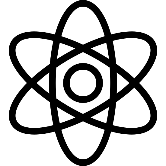 Fizyka icon. It is an image of stylized atom. There is a small concentric circle in the middle that isn't touched by anything. Three elongated ovals form the outside, one which stands vertically and the other two form an X.