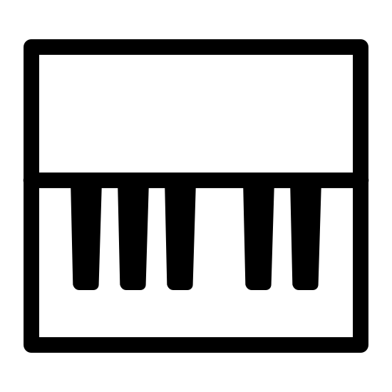 Piano icon. This particular icon features a rectangle with a black horizontal line that runs through the middle.  Attached to the horizontal line are five black thick lines that are situated on it.