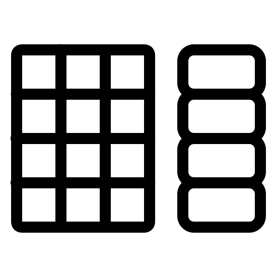Pincode Keyboard icon. The icon consists of two rectangular objects of equal height but different widths. The object on the left has a rectangular outer shape with four rows and three columns of squares arranged in a grid. The object on the right consists of four rectangles with rounded corners that are wider than they are long and are all stacked.