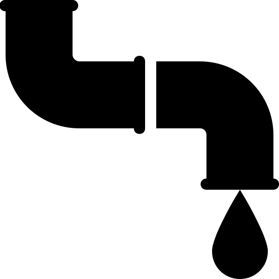 Rurociąg icon. The icon resemble an S shape that is laying on its back. The center of the S shape has a line running through it. The bottom right side of the S shape has a tear shape dripping from it.
