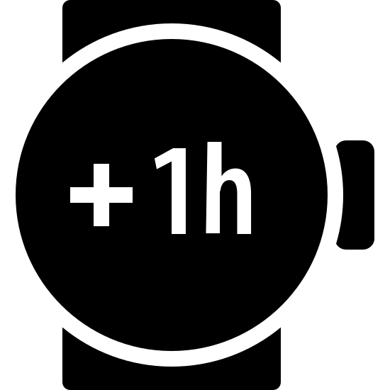 Plus 1 Hour Filled icon. This icon consists of an outlined circle representing a wristwatch with a small rectangle placed on the right side representing the crown. Two parallel lines run vertically behind the circle, representing a wrist.