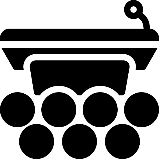 Pódio com público icon. It is a picture of podium. Only the top half is drawn with a small microphone. In the bottom half, instead of the podium, there are small circles indicating there is an audience. There are seven circles in total.