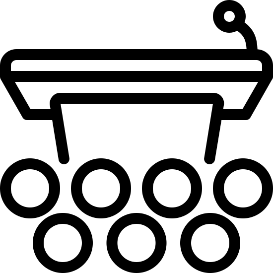 Подиум с аудиторией icon. It is a picture of podium. Only the top half is drawn with a small microphone. In the bottom half, instead of the podium, there are small circles indicating there is an audience. There are seven circles in total.