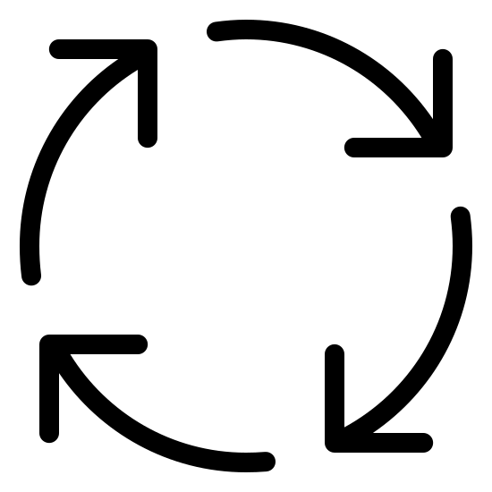 Process icon. This icon is just 4 arrow with long tails forming a circle. The arrows are going in a clockwise direction starting from the top, going to the right, then bottom, then going up.