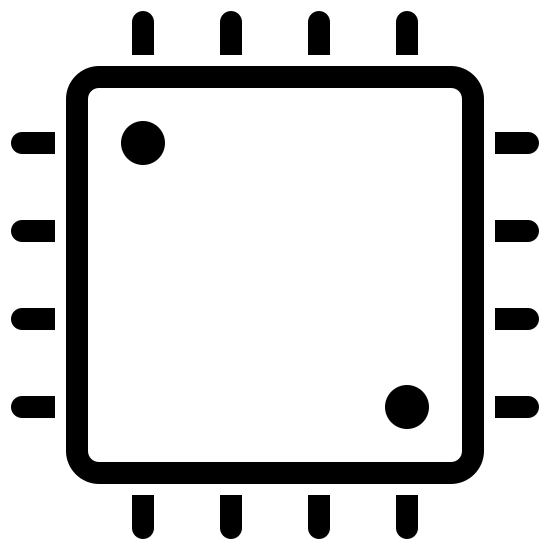 Processore icon. It is a large square with rounded corners. There are two dots on the square, one each in the top-left and bottom-right corners, almost like a 2 on a standard die. On the outside of each of the 4 edges of the square are 4 lines perpendicular to the edge, separated from the edge by a very small space.