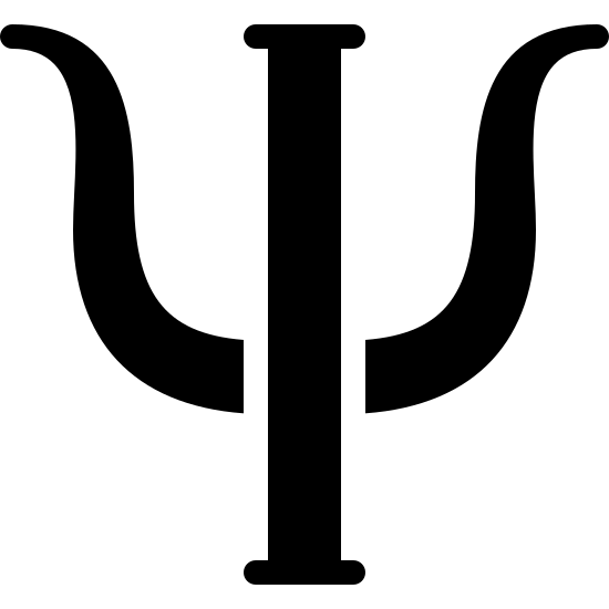 Psychology Filled icon. The psychology logo is A trident. It consists of a pole like rectangle. On each side of the pole, there are curved barbs, shaped like horns, atached to each side.