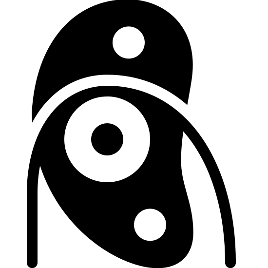 Pulley Filled icon. The icon is a simple depiction of a pulley. A main body with two mounting holes holds a low-friction wheel on an axis, across which a string is strung. The string then drops to the bottom of the image, truncated by the icon's boundaries.