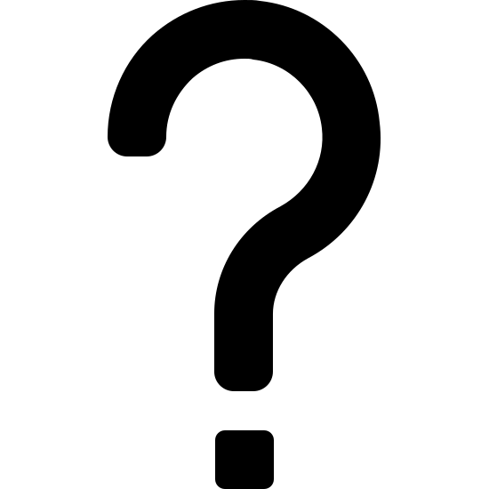 Ponto de interrogação icon. A question mark is depicted. There is a curvy line that starts at the top left, flows clockwise about 270 degrees, then curves sharply downward and ends. Below this ending of the line is a dot.