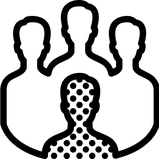 Rasizm icon. This image is depicting a group of four people clustered together in a solid unit with one person distanced from the other three as if to indicate this person is outcasted. The silhouette of the person in the foreground is distinguished by dots covering the person.
