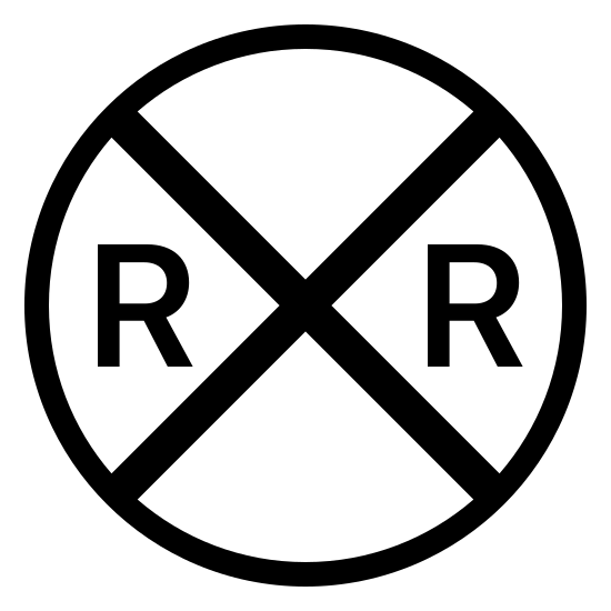 Znak przejście kolejowe  icon. There is a circle with an x that covers the entire circle. there are 2 r's with one on the left and one on the right side of the circle.