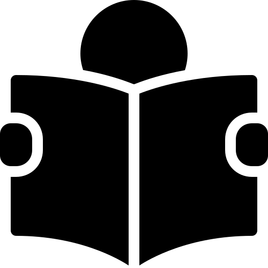 Lesen icon. A circle is at the top of the icon, representing a head, and two smaller, somewhat circle like shapes are on the right and left sides representing hands. between the hands are two rectangles drawn in a way to create a 3D impression, with a vertical line drawn down the middle, to create the appearance of a book