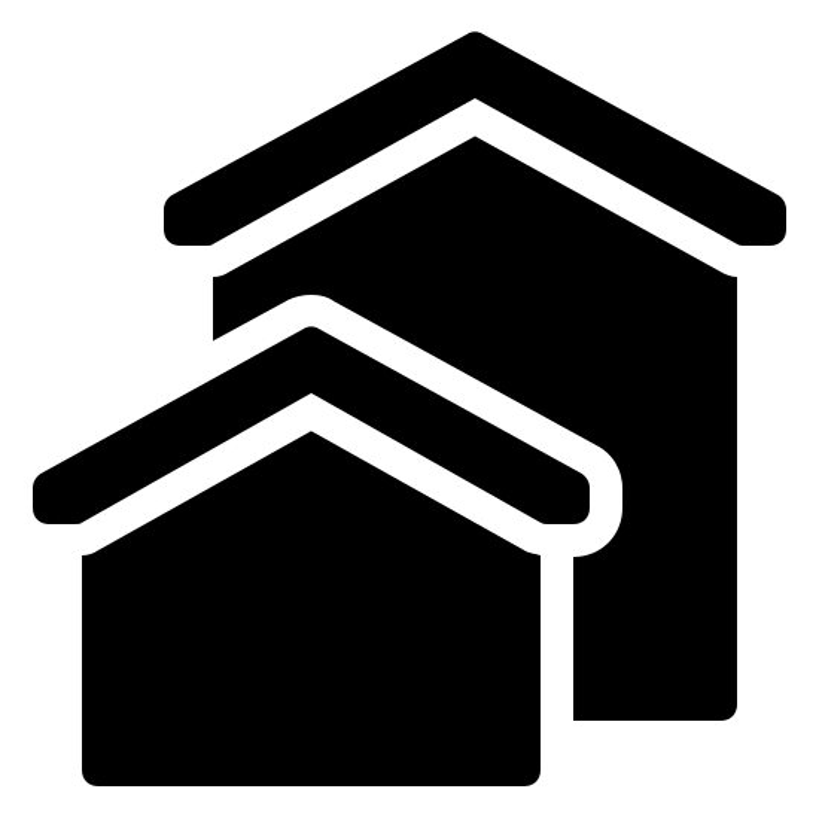 房地产 icon. This icon represents real estate and has two houses on it. One is smaller and to the left but covering the one behind it. The one in back is about twice the size.
