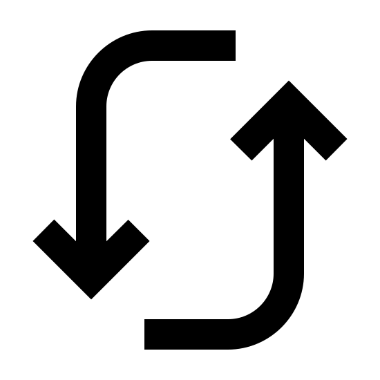 Actualizar icon. This is a photo of two arrows. One arrow is pointed down, the other is pointed up. The beginning of each arrow is straight, and then curves either upward or downward.