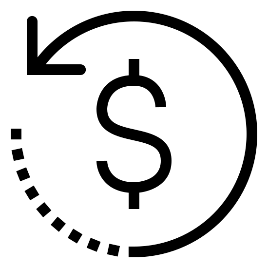 Remboursement 2 icon. This is a picture of a dollar sign symbol surrounded by a circular arrow. the arrow is going in a counter-clockwise direction, and it's end is facing the left hand center side. the other end of the arrow is dashed