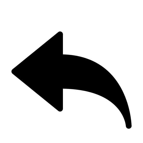 Reply Arrow Filled icon. This image depicts a leftward facing arrow. The arrow is pointed at its left most end, with the head being an equilateral triangle. On its right side, the arrow extends downward and narrow into a point at its tail.