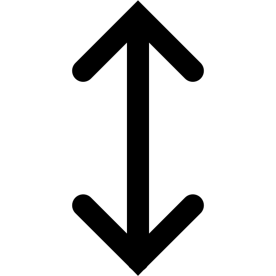 Resize Vertical Filled icon. There is a single vertical arrow that has two arrow heads, each arrow head is pointing in an opposite direction with one of them going up and one of them going down.