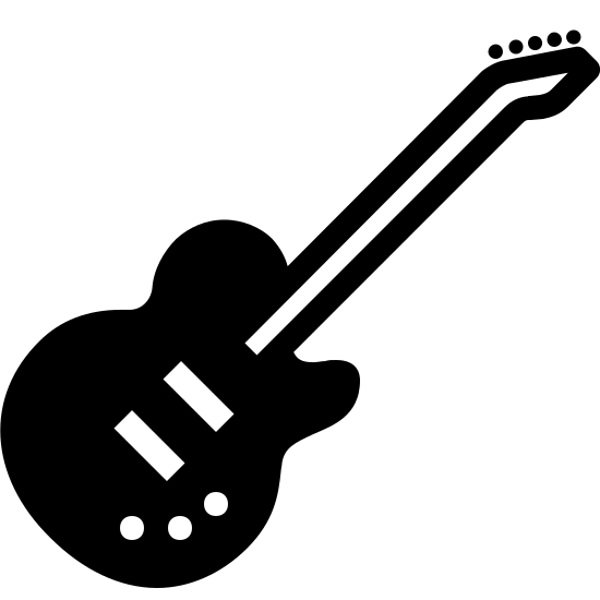 Rock Music Filled icon. This is an image of an electric guitar.   It shows the various sleek curves of the body of the guitar along with a few small circles for controls on the guitar and a long rectangle representing the fret board of the guitar.   It is a basic image though and doesn't get into the detail of the strings.