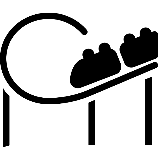 Kolejka Roller Coaster icon. This icon has 3 lines at the bottom that connect to a curved, unfinished loop shape. On that shape are two semi-rectangles with two dots on top of each one.