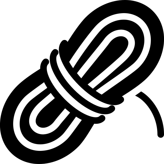 Rope Filled icon. This logo displays a bundle of tightly coiled rope. The roped is bunched together, with the end of the rope tied around the middle to secure it. The bundle is leaning toward the right.