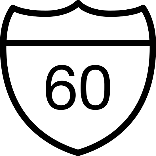 Дорожный знак icon. The icon is a logo for the State Route Sign. The icon is in the shape of a shield, with a line across the top of it. The icon has the number 60 in the very center of it, as if to display state route 60.